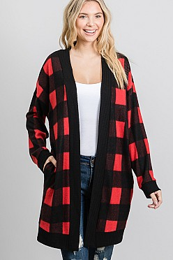 Red flannel open front cardigan