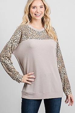 Leopard print and solid color block top