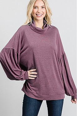 Turtle neck bubble sleeve open back top