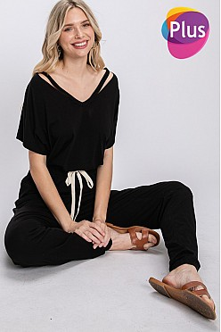 Plus Slitted neckline jumpsuits