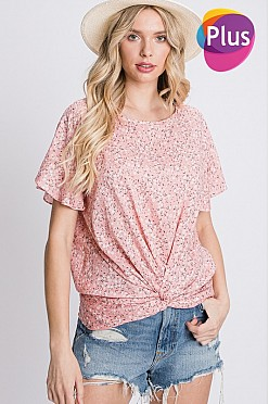 Plus Flutter Sleeve Floral Top