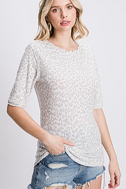 Animal print round neck lettuce trim top
