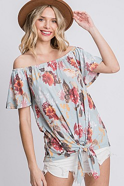 Off-shoulder floral print top