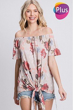 Plus Off-shoulder floral print top